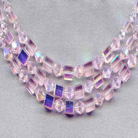 Graduated Sparkling Light Rose Crystal Beads Three Strand Necklace