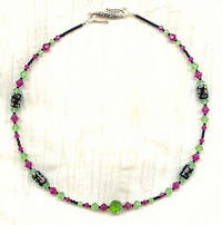 CHARTRES: Peridot, Fuchsia and Jet Dichroic Glass and Crystal Necklace