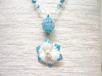 Beaded Fashion Jewelry Set Aqua Flowers Necklace and Earrings Set