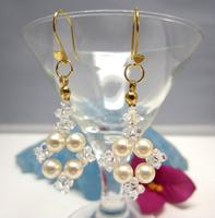 Earrings Beaded of Swarovski Crystal Pearls and Vermeil