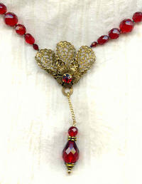Art Deco Style Handmade Old Gold Tone and Red Crystal Pendant Necklace
