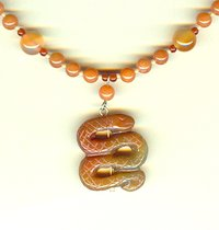 YEAR OF THE SNAKE:  Hand Carved Carnelian Pendant Necklace
