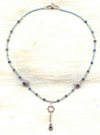 Iolite Swarovski Crystal and Sterling Silver Pendant Necklace