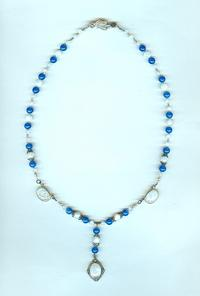 Rainbow Moonstone and Blue Onyx Pendant Necklace