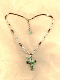 Bronze Beaded Cross with Appliqued Beaded Easter Lilies