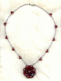 Artisan Made Pendant Necklace: Siam Ruby Vintage Swarovski/Dior Glass