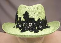 Plus Size Ladies Hat: Perdot Green, Black Sequins and Beads