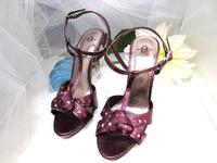 Metallic Purple Slingback Sandals with Swarovski Crystals Size 6-1/2