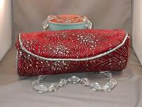 FIREWORKS: Burgundy and Silver Velvet Roll Bag, Lucite Bead Handles