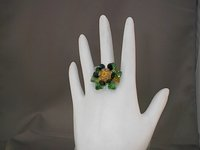 Fijian Blossom Handmade Green, Indigo Swarovski Crystal Cocktail Ring
