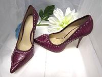 Bordeaux Faux Snake Pumps Swarovski Crystal Beaded - Size 7