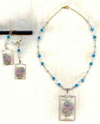 Turquoise and Violet Daisies Necklace and Earrings Set