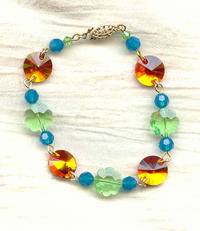 Caribbean Holiday Jewelry Set: Summer Colored Swarovski Crystal Beads