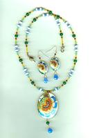 CHRYSANTHEMUM CLOISONNE NECKLACE AND EARRINGS SET: Sapphire and White