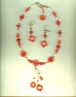 Flame Resin and Swarovski Crystals Jewelry Set