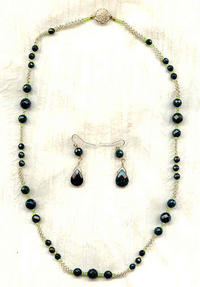 Faceted Dark Green Goldstone Long Necklace and Drop Earrings Set