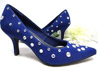 Midnight Blue Pumps Faux Suede Crystal AB Stones  - Size 7-1/2