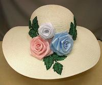 Summer Hat: Floral Appliqued Panama