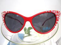 Red Cateye Sunglasses with Crystal AB Rhinestones