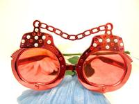 Sunglasses Orange Handcuff Dark Glasses with Vintage Rhinestones