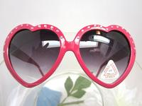 Heart Shaped Sunglasses Hot Pink with Rose Rhinestones