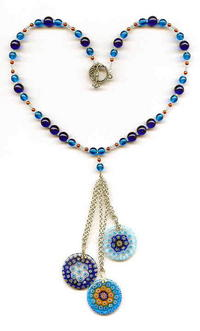 Cool Caribbean Blue Millefiore Glass Tassel Necklace