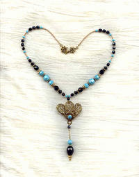 Turquoise and Black Crystal Pendant Necklace with Vintage Centrepiece