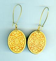 Oval Wooden Mehndi Earrings