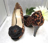 Leopard Spot Peep Toe Pumps Swarovski Crystal Beaded - Size 7